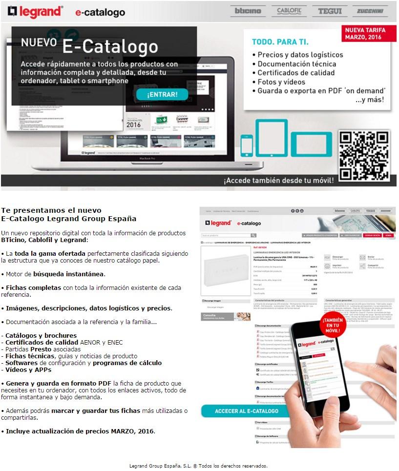 Nuevo E-Catalogo Legrand Group España