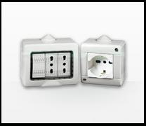 Serie de mecanismos,  interruptores y enchufes Màtix de Bticino. Matix terciario