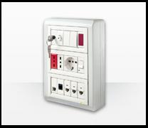 Serie de mecanismos,  interruptores y enchufes Màtix de Bticino. Matix terciario 2